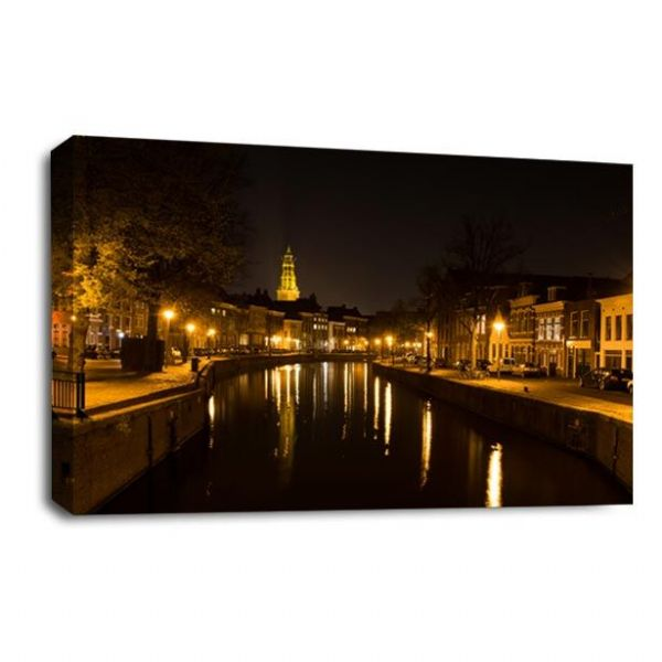 Amsterdam Canal Canvas Wall Art Print Night Time City Picture